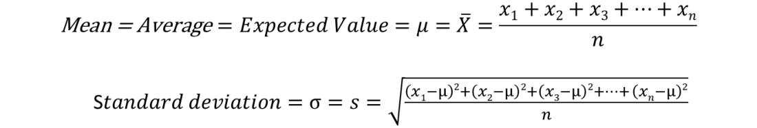 Arithmetic Mean and Standard Deviation Formulae